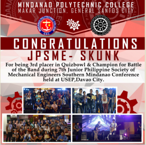 CONGRATULATIONS JUNIOR PHILIPPINE SOCIETY OF MECHANICAL ENGINEERING-MPC CHAPTER!